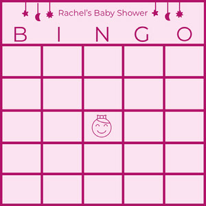 Pink Illustrated Baby Shower Bingo Card ビンゴカード