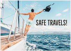 Have a Safe Trip Card with Man on Boat Boats