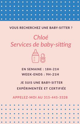 Chloé <BR>Services de baby-sitting  Prospectus