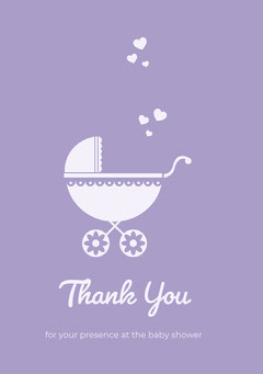 Purple Illustrated Thank You Baby Shower Card with Stroller Baby Shower