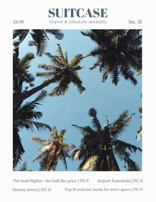 Travel Magazine Cover with Palm Trees Magazine Cover