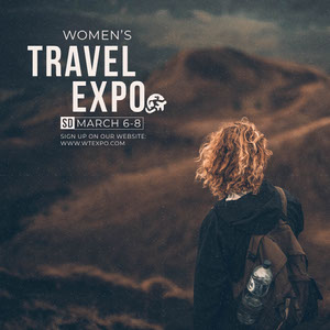 Travel Expo Ad Instagram Post with Female Tourist Signage