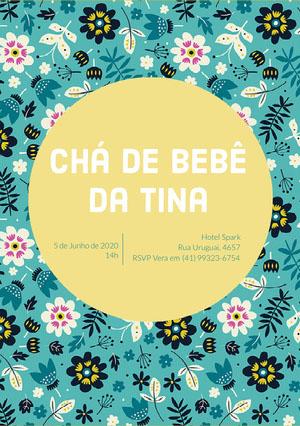teal floral patterned baby shower invitations  Convite para chá de bebê