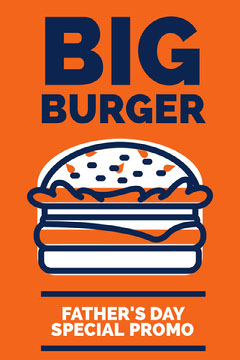 Orange White and Blue Burger Promo Burger