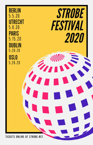 Yellow Disco Ball Festival Poster Concert Poster