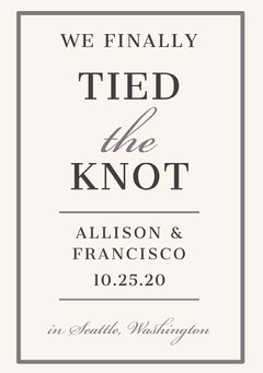 Gray and White Elegant Wedding Announcement Card Grey