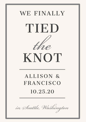 Gray and White Elegant Wedding Announcement Card Wedding Announcement