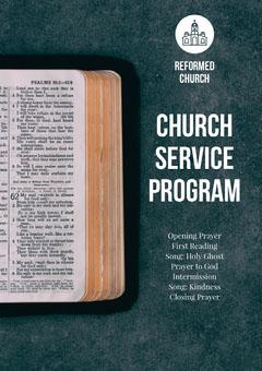 Blue and White Church Service Program Flyer Religion