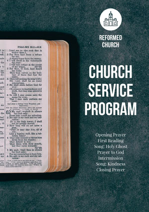 Blue and White Church Service Program Flyer Aankondiging