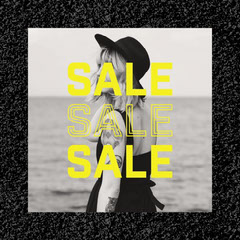 black white yellow shop sale instagram square  Shopping