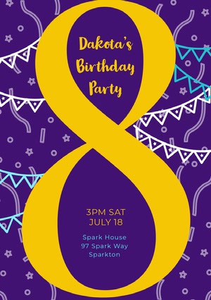 Violet and Yellow Birthday Party Invitation  Party Invitation