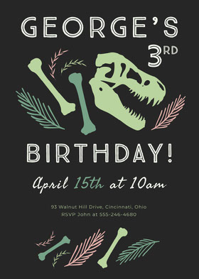 Black, Green and Pink, Dinosaur Themed Birthday Party, Invitation Card Birthday Invitation (Boy)