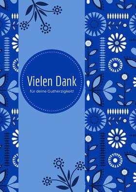 blue patterned thank you cards Danksagungskarte