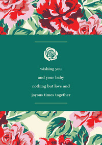 Green and Red Floral Baby Congratulations Card Wedding Congratulations