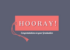 Black and Red Hooray Card Graduation Congratulation