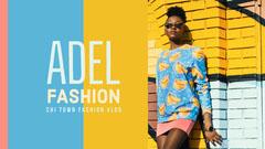 Yellow and Blue Fashion Vlog YouTube Thumbnail with Model Fashion
