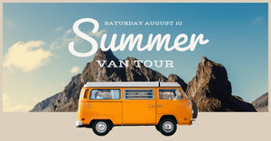 Blue and Orange Summer Van Tour Social Post Facebook Cover