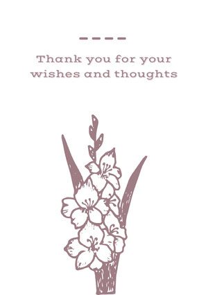 Thank you for your wishes and thoughts Funeral Thank You Card